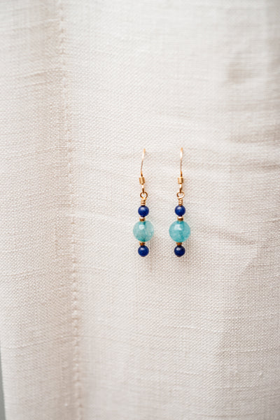 Blue Jade and Lapis Lazuli Earring