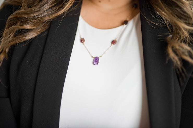 Long Amethyst and Tourmaline Necklace