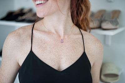 Amethyst Teardrop and Herkimer Diamond Necklace