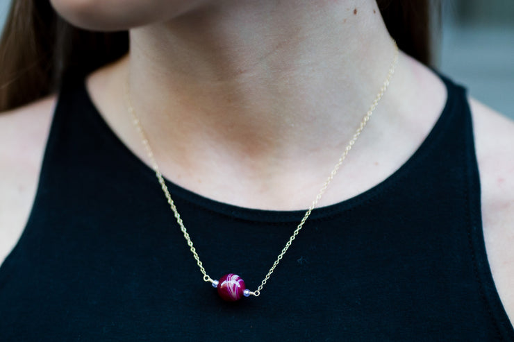 Pink Agate and Zircon Bead Necklace