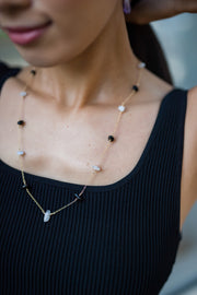 Black Obsidian and Moonstone Necklace