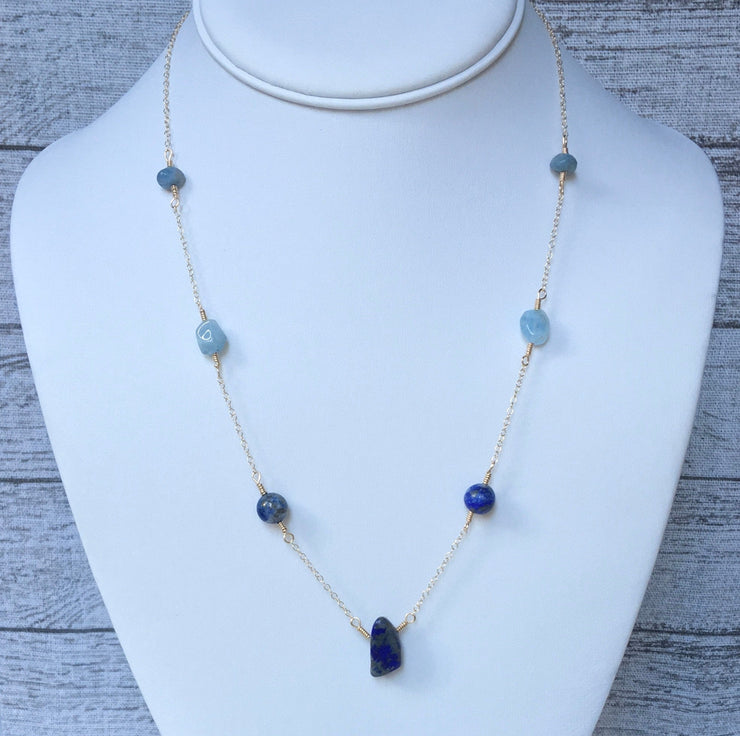 Long Lapis Lazuli and Aquamarine Necklace