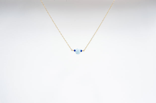 Dainty Aquamarine and Lapis Lazuli Necklace