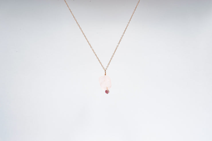 Raw Rose Quartz and Tourmaline Necklace