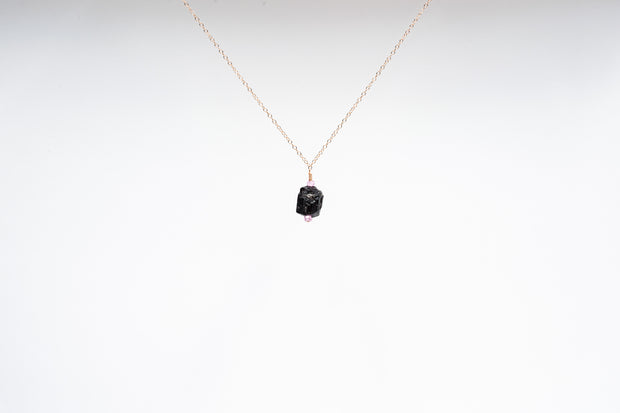 Raw Black Tourmaline and Pink Zircon Necklace
