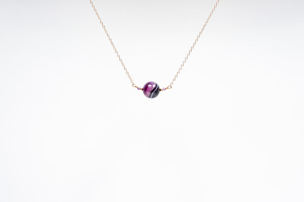 Purple Agate and Zircon Necklace