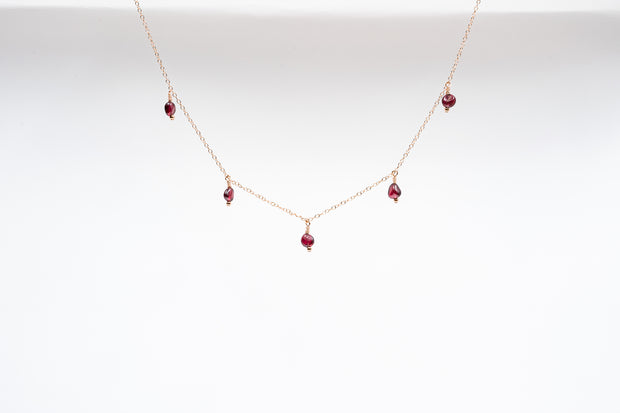 Dainty Garnet Drop Necklace