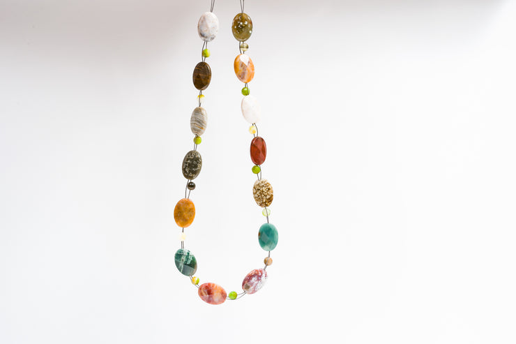 Multi-bead Ocean Jasper and Agate Choker Necklace