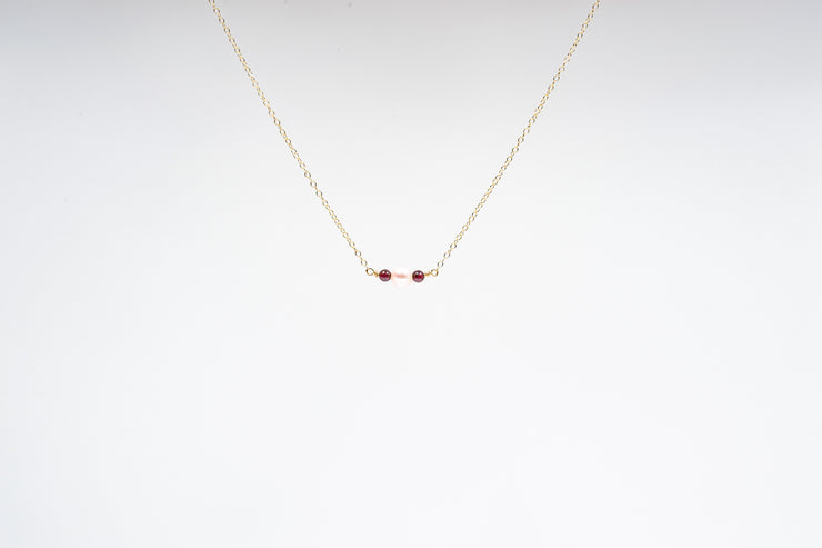 Dainty Pearl and Garnet Necklace