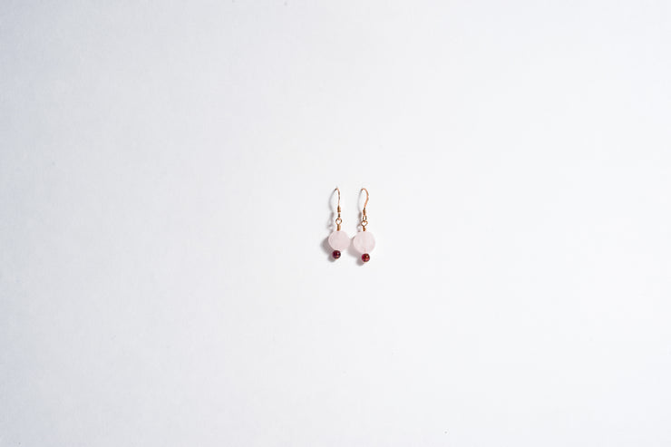 Rose Quartz Garnet Dangle Earring