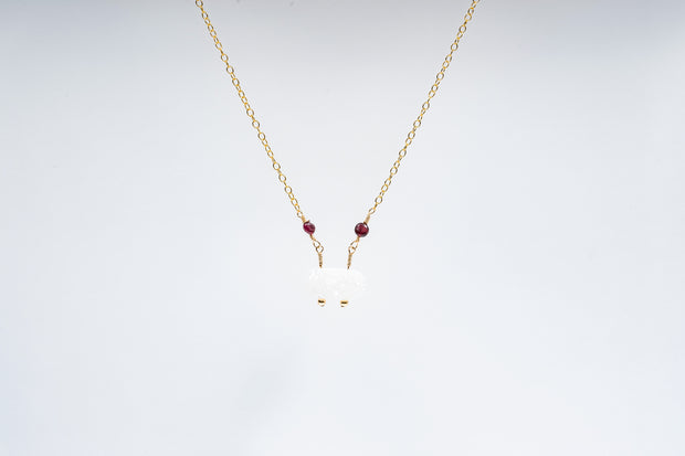 White Druzy and Garnet Necklace