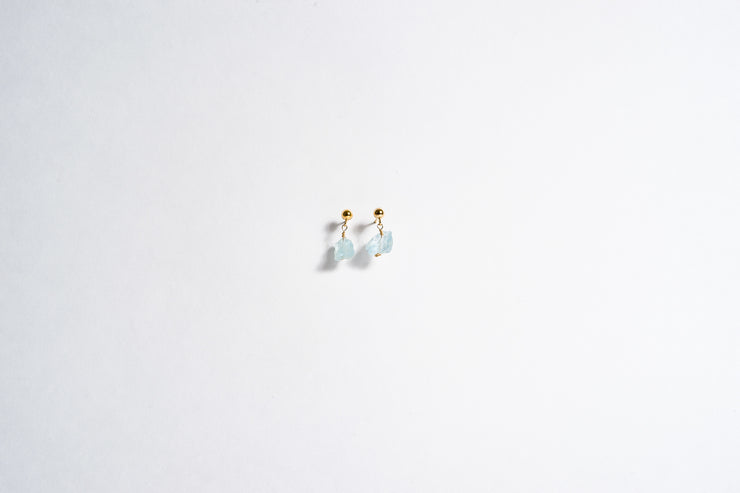 Raw Aquamarine Stud Earring