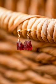 Raw Garnet Gemstone Dangle Stud Earring