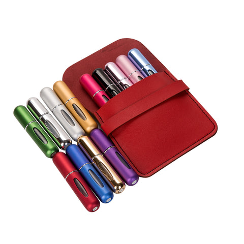 Set of 5 Mini Perfume Atomizers with Travel Pouch