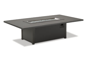 "48"" x 84"" Rectangular Slat Chat Height Fire Table"