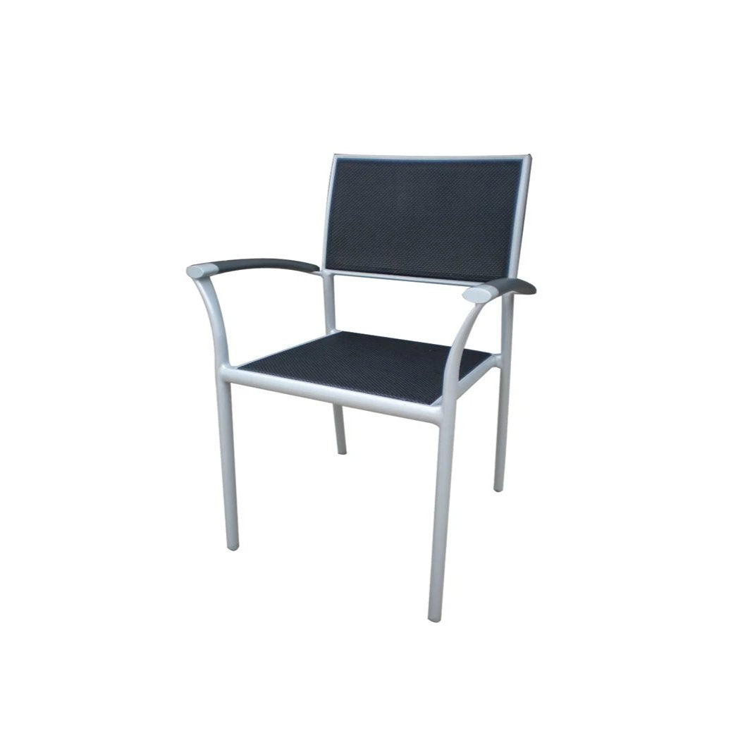 New Roma (Sling) Stacking Arm Chair w/Aluminium Arm