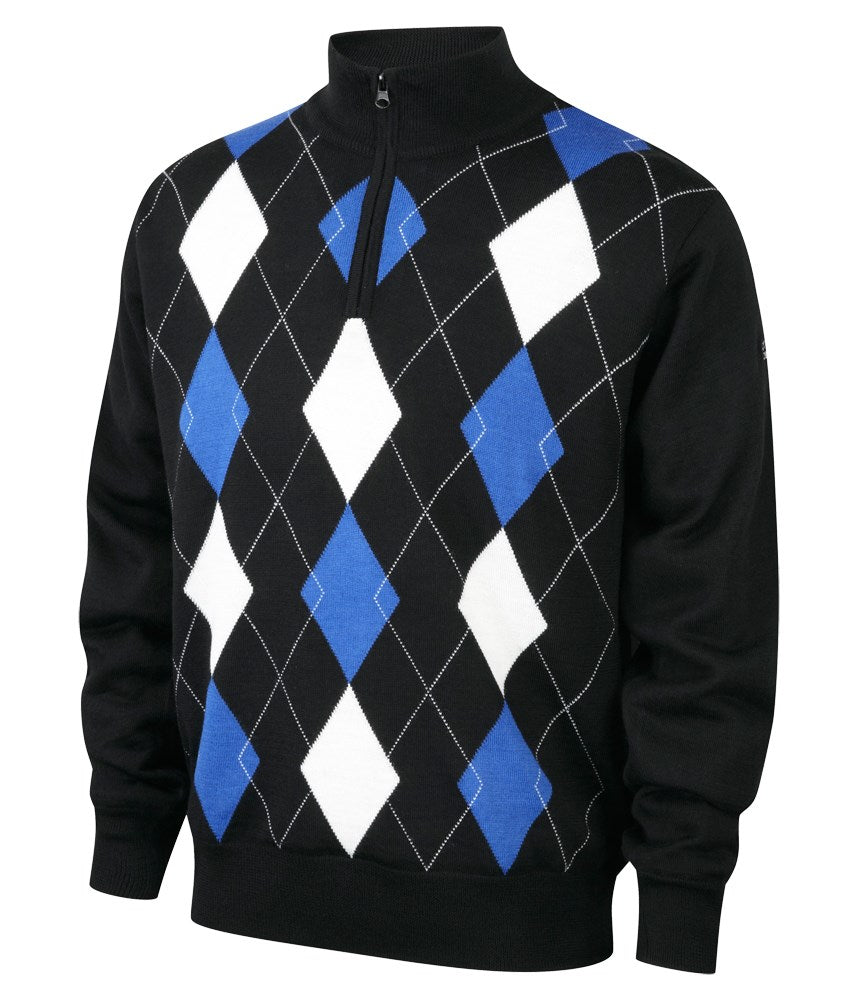 Cypress Point Mens 1/2 Zip Lined Argyle Sweater (Black)