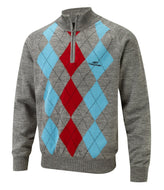 Cypress Point Mens 1/2 Zip Lined Argyle Sweater (Ash)