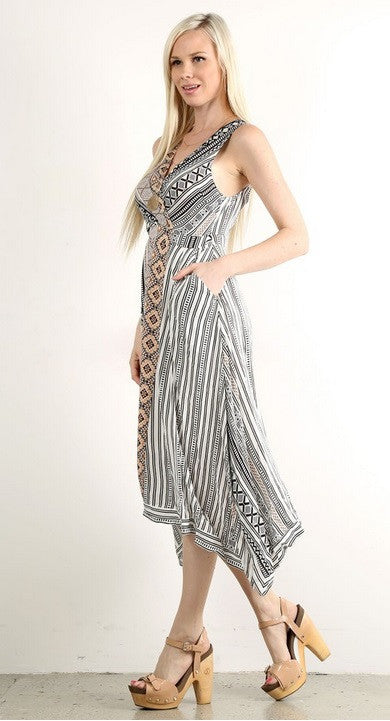 Mystree Tribal Print Midi Dress 13718
