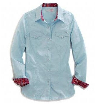 Tin Haul Poplin Blue LS Shirt