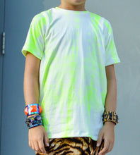 Load image into Gallery viewer, Neon Yellow Tie Dye Grunge Streak Tee