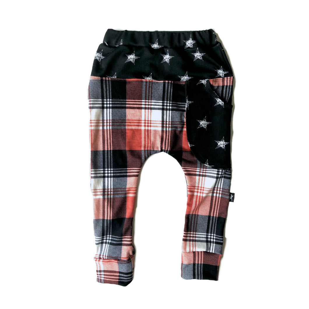 Rusty Plaid Star Sling Jogger