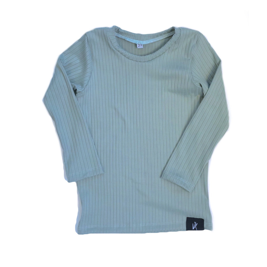 Sage Ribbed Tee - Long Sleeve
