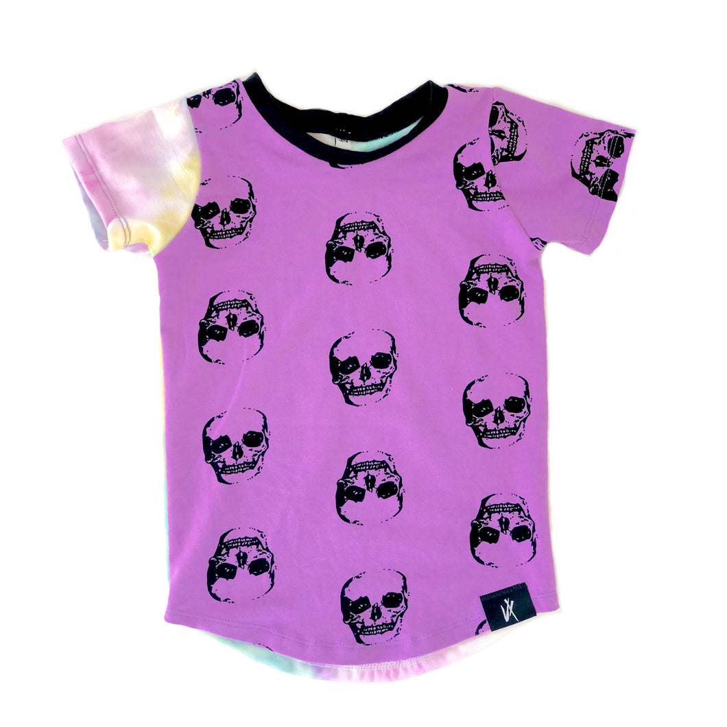 Skull Tie Dye Color Block SS Tee
