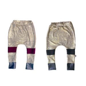 Gold Metallic Knee Accent Joggers