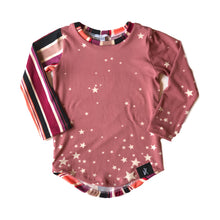 Load image into Gallery viewer, RTS Mauve Stars & Stripes Color Block LS Tee