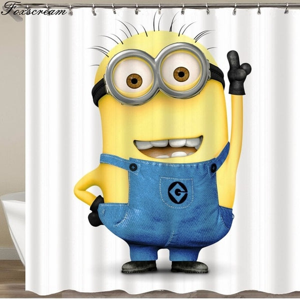 Yellow Shower Curtains Mischievous Minions Series Shower Curtains Bath Curtain Polyester Waterproof Bathroom Curtain Or Mat