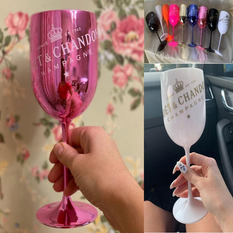 2pcs Wine Party Gold Champagne Coupes Cups Cocktail MOET Champagne Glasses Goblet Electroplated Plastic Shoot Glass