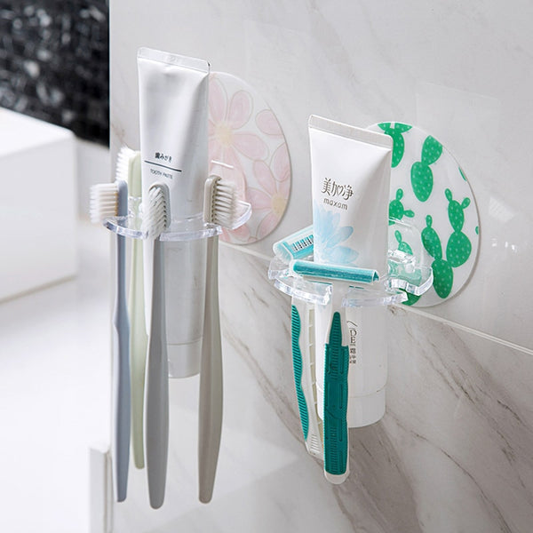 BathroomAccessories 1PC Plastic Toothbrush Holder Toothpaste Storage Rack Shaver Tooth Brush Dispenser Bathroom Organizer Access