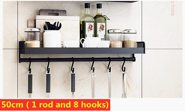 Black Aluminum Alloy Wall Mounted Kitchen Storage Rack Dish Drainer Plate Drying Pot Cover Cutlery Holder