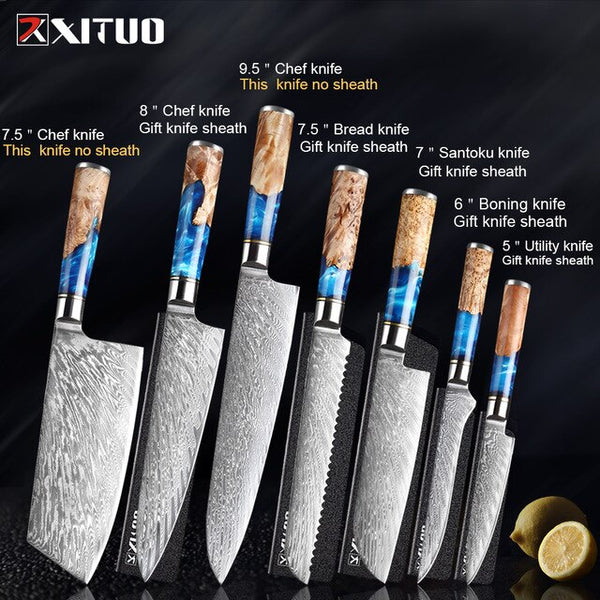 XITUO Kitchen Chef Knife Japanese High-end VG10 Damascus Steel Blue Resin Color Wooden Handle Cooking Tool