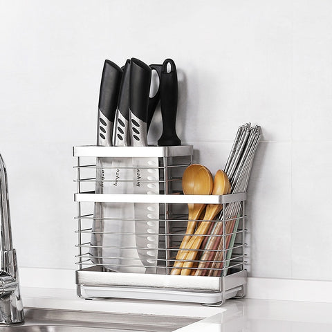 304 Stainless Steel Drying Cutlery Rack Kitchen Organizer Drainer Holder Storage Shelf over Sink Container Accessories Tools
