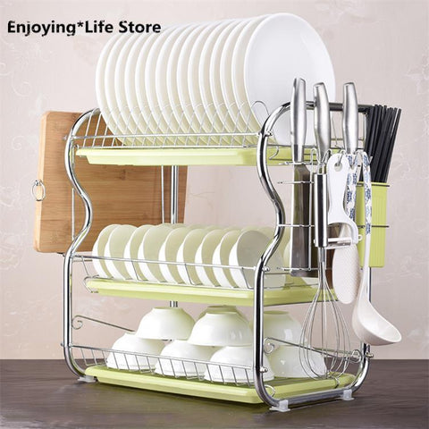 3 Layer Dish Drainer Iron Kitchen Cutlery Drain Rack Utensils Storage Organizer Rustproof Dishes Plates Organization Shelf