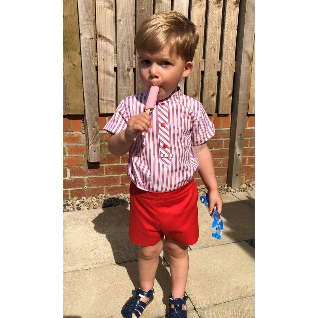 Boys spanish short and top set in red