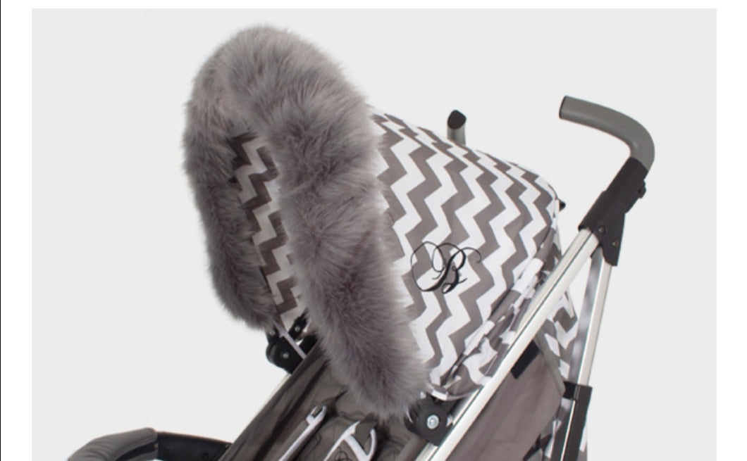 Grey fur hood trim