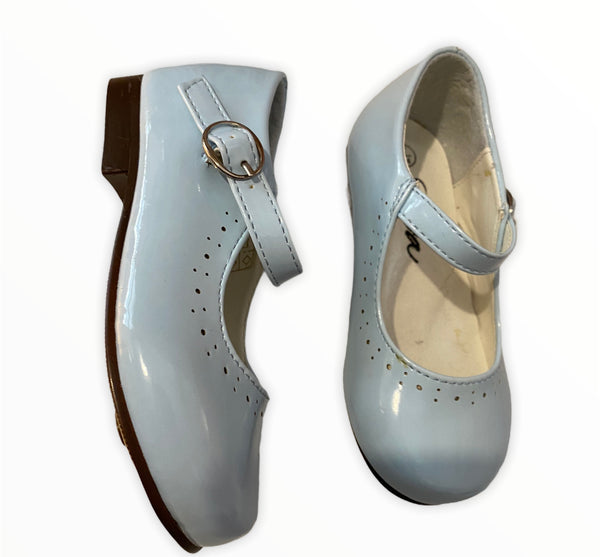 Baby blue Sevva Abbey patent shoe