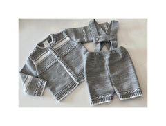 Grey and white knitted cardigan set
