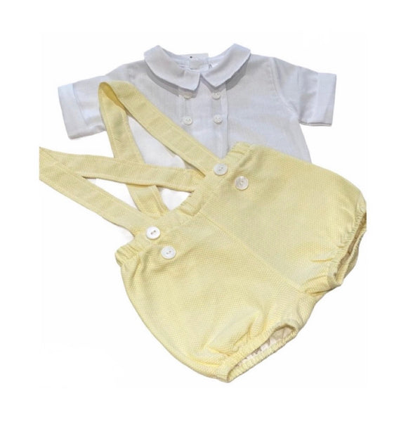 White shirt and lemon dungaree style shorts set