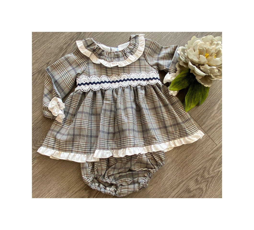 Checked grey and tan dress with jam pants