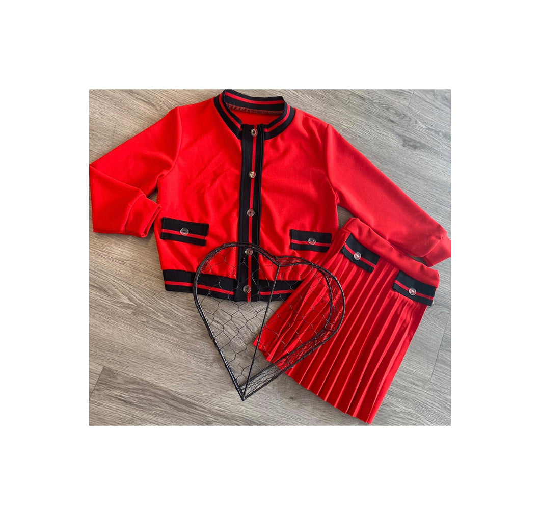 Red  pleated shirt and jacket set