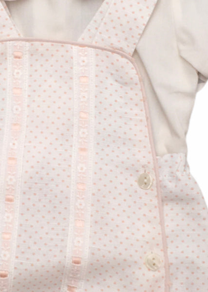 Dungaree polka dot set in cream