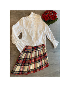 Tartan pleated skirt and shirt