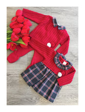 Load image into Gallery viewer, Red knit boys top and pants with pom pom detail