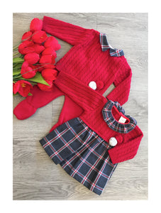 Red knit boys top and pants with pom pom detail