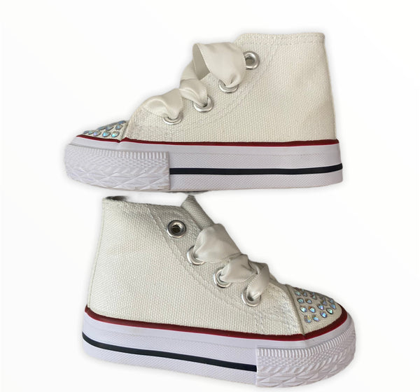 White converse style boots with diamanté detail