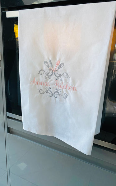 Personalised tea towels 'kitchen'